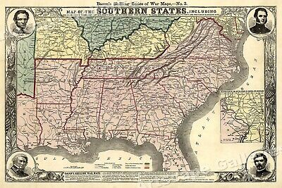 1863 Map of the Southern States - Civil War - 16x24