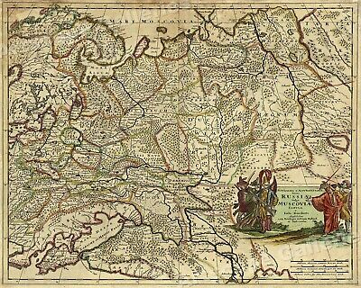 Russia 1680s Vintage Style eurasian Map - 20x24