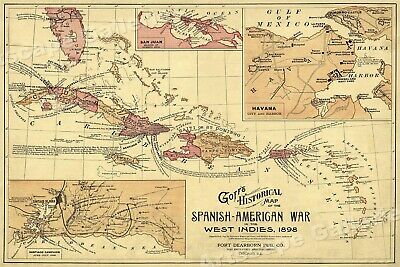 1898 Goffs Map of the Spanish American War Carribean - 16x24