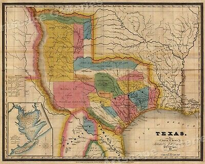 1835 Territory of Texas - Map of Land Grants - 24x30