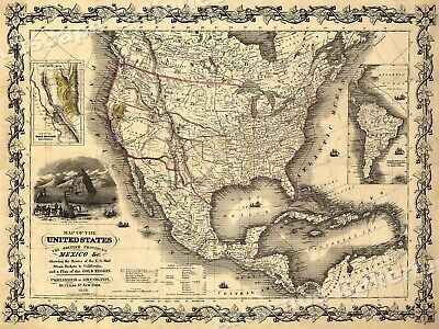 1840s Map of the US British Provinces & Mexico Map Poster - 18x24