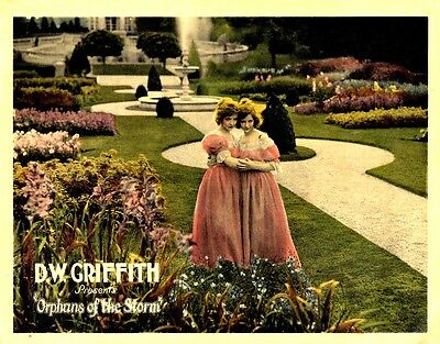 ORPHANS OF THE STORM (1921) Lobby card Lillian & Dorothy Gish hand-colored NF