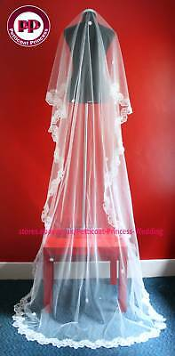 One Tier White Cathedral Chapel Wedding Bridal Veil 3M