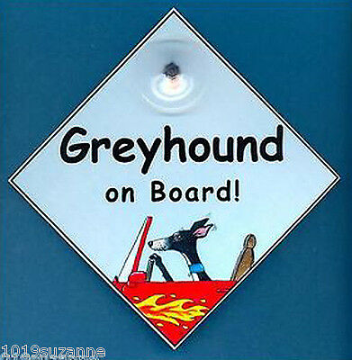Greyhound art painting car sign Dog on board laminated sign by Suzanne Le Good