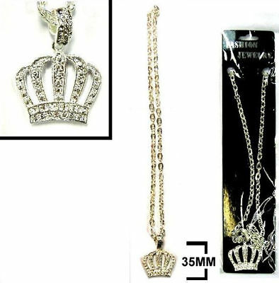 new HEAVY BLING KING CROWN  NECKLACES jewelry hip JL400 silver chain necklace