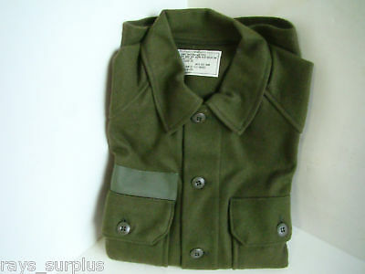US Military Cold Weather Wool Shirt, OD Green, Small