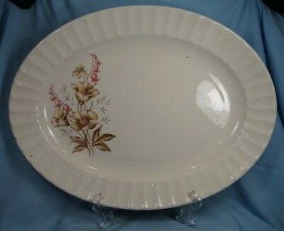 Pretty Vintage BROWN & RED FLOWERS PLATTER Knowles (O)