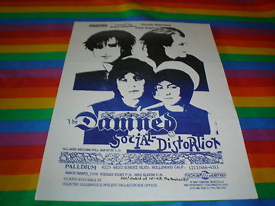 The Damned And Social Distortion 80S Gig Flyer