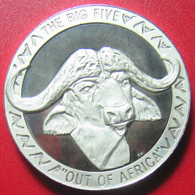 "2002 Uganda 5000 Shillings Silver Proof Buffalo Head Deep Cameo ""big Five"" Rare!"