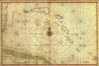 1650 Bahamas Caribbean Historic New World Map - 17x24