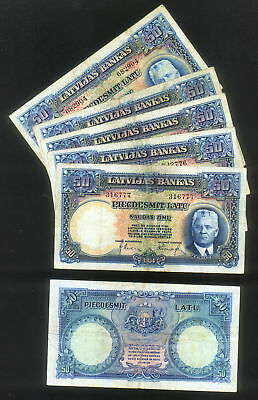 WHOLESALE - 5 (FIVE) LATVIA 50 LATU of 1934 CIRCULATED NOTES Pick # 20