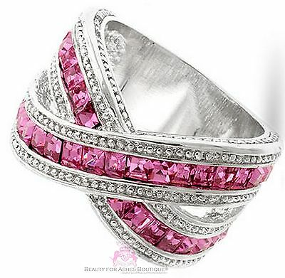 Ladies Glimmering Glamour Silver Criss Cross X Pink Ice Cubic Zirconia Band Ring