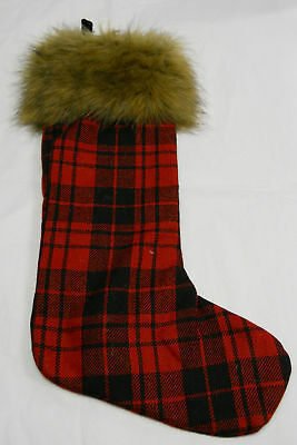 RED & BLACK PLAID STOCKING WITH BROWN FUR AT TOP