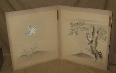 2 Antique Japanese Watercolor Painting Woodpecker