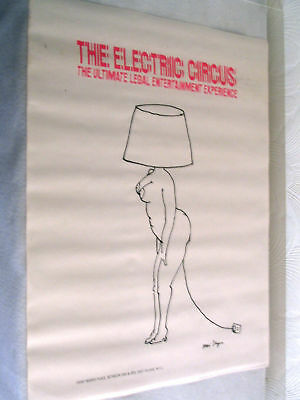 Electric Circus Vintage Poster Tomi Ungerer Woman Lamp Pin-Up Night Club 1970's