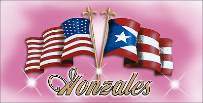 """USA Puerto Rico Flags Decal Bumper Sticker 3.5"""" x 6"""" Pink Latino Personalize"""