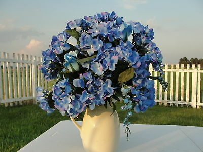 Blue Hydrangea in Cream Pitcher Vase w/ Bling Home Interior Decorating Floral