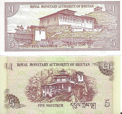 2 Crisp Uncirculated 5 Ngultrum Notes from Bhutan - 1985 & 2006 (2 Types)