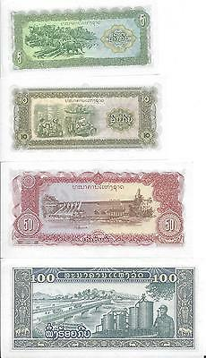 4 Unc Notes..Laos..5, 10, 50 & 100 Kip..All Issued 1979