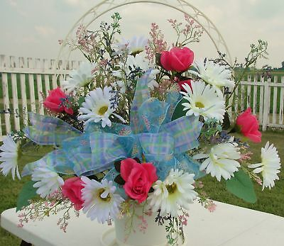 Bereavement Cemetery Flowers Funeral Sympathy Basket White Daisies Pink Roses