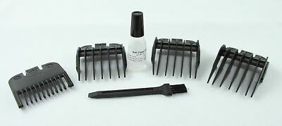 Wahl Hair Clipper 4 Comb Set 1, 2, 3 & 4 Guard Combs + Oil and Brush