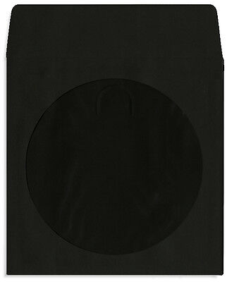 200-Pak =BLACK= Colored Paper CD/DVD Sleeves with Window & Flap