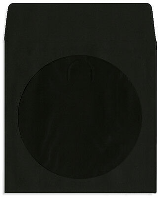 1000-Pak =BLACK= Colored Paper CD/DVD Sleeves with Window & Flap