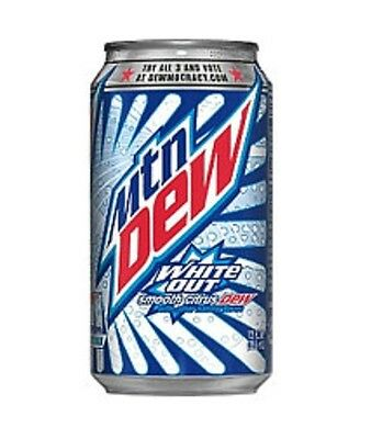 Mountain Dew White Out 12 Cans 12oz Each Free Shipping!