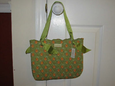 Longaberger Olive Green Scalloped Edge Tote purse NWT