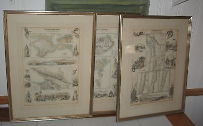 3 Antique Map S. America Caucusus Danish Islands