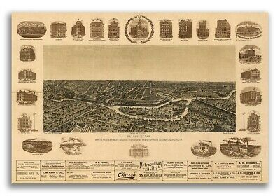 Dallas Texas 1892 Historic Panoramic Town Map - 16x24