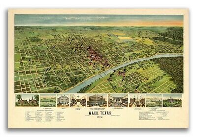 Waco Texas 1892 Historic Panoramic Town Map - 16x24