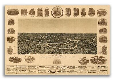 1892 Dallas Texas Vintage Old Panoramic City Map - 24x36