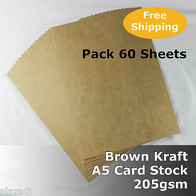 60 Sheets Kraft Brown ReCycled Enviro Card A5 Size 205gsm #S0105 #D1