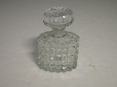 "Art Glass Cologne Oval Waffle Blown Stopper Clear 3.5""T"