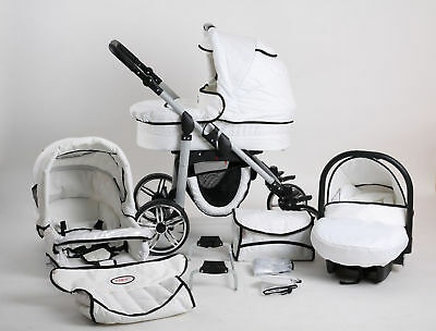 Kinderwagen Kombi Buggy Pram Pushchair Poussette SILVER WHITE EDITION