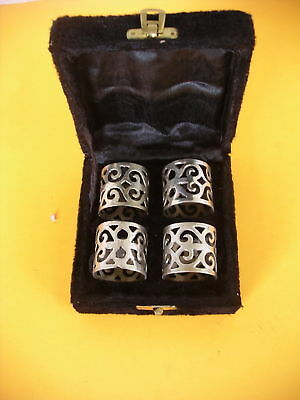 Box Of four  Silverplate Napkin Rings Vivtage