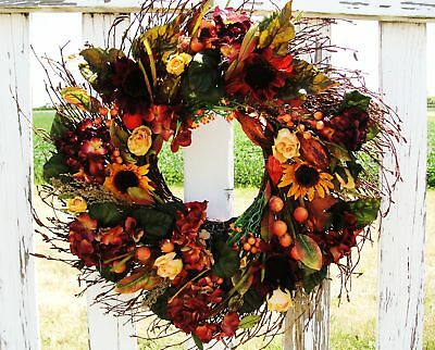 """Country Door Harvest 22"""" Rustic Tuscan Wreath Mantel Sunflowers Sympathy Funeral"""