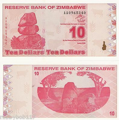 ZIMBABWE 10 Dollar Banknote World Paper Money Currency BILL Post Trillion Series