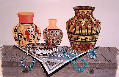 Navajo canvas painting 2 POTS BASKETS & RUG 18x24 by renowned Jimmy Yellowhair
