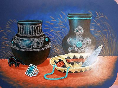 Navajo canvas painting BASKET & BLACK POTS 16x20 by renowned Jimmy Yellowhair