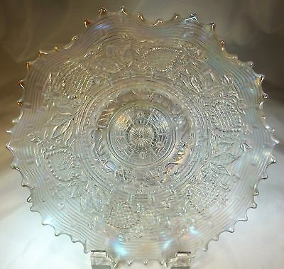 "DUGAN FANCIFUL ICE WHITE PASTEL CARNIVAL GLASS 9"" BOWL!"
