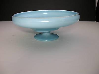 """Northwood Jade Blue Iridized #656 Footed Compote 8"""" D"""