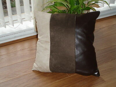 """22"""" Faux Suede/Leather Cushion Cover"""
