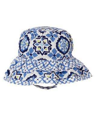 GYMBOREE ISLAND BEAUTY BLUE w// BROWN DOT SUN HAT 0 3 6 12 18 24 NWT