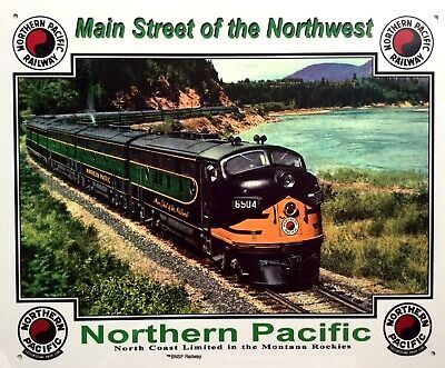 RAILROAD TIN SIGN / NORTHERN PACIFIC / diesel trains