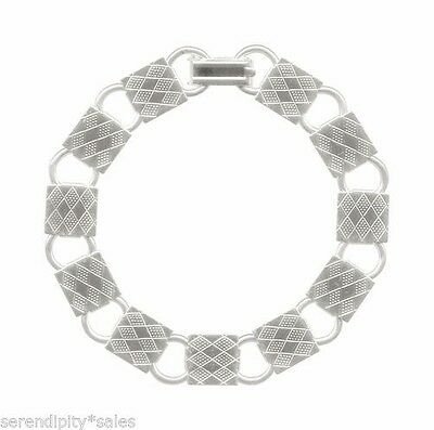 3 Square Textured Pad Silver Plated Bracelet Blanks Forms ~ Add your own beads!