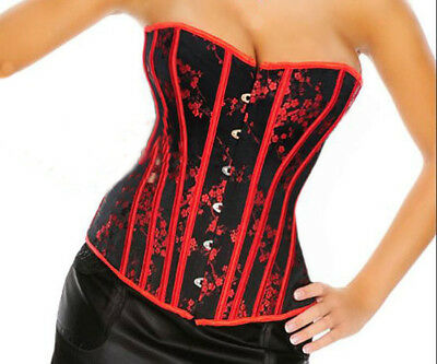 CORSET Stunning BLACK with RED Flowers Brocade Bustier + G string Sizes: S - XXL