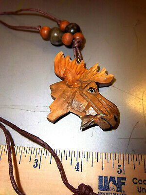 Carved Wood Moose Necklace - neat collectible - We combine & Ship Worldwide
