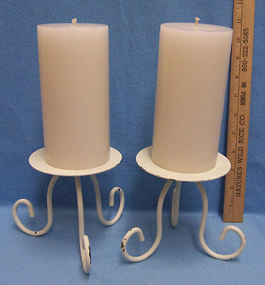 Set of 2 Metal Candle Holders White Footed w/ Candles